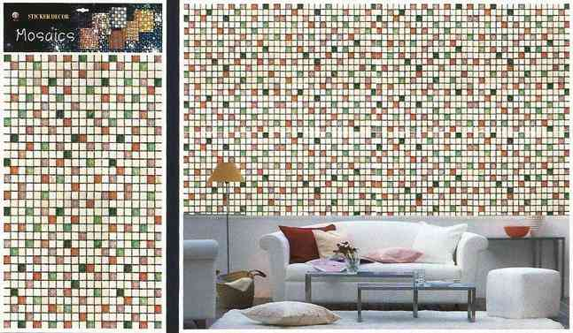Small Squares Pixels Tile Design Wallpaper Like Wall Sticker for Wall Decoration (30x18.5 Inches)
