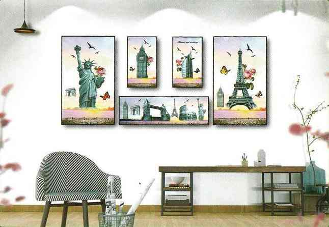 Pack of 5 Paris Frame Design Wall Stickers for Wall Decoration