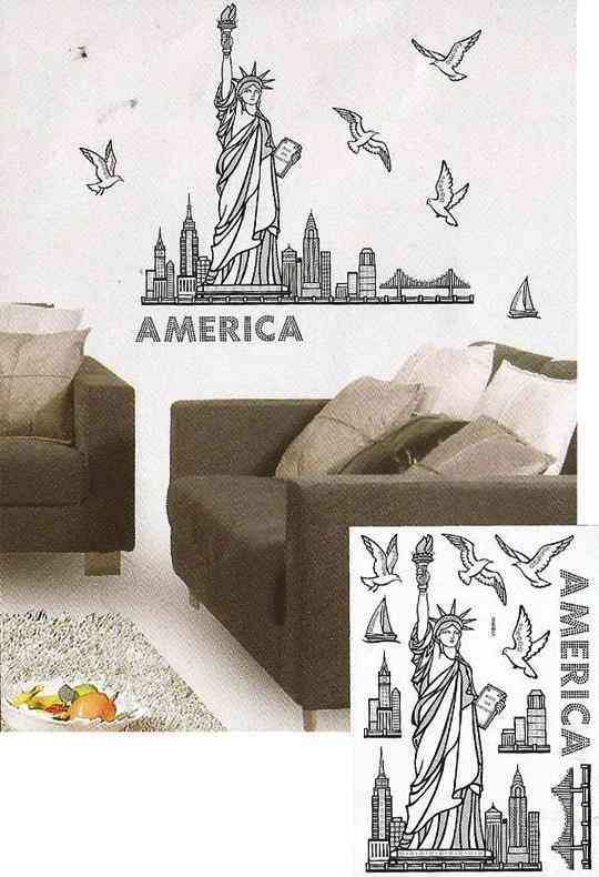 Shiny Statue of Liberty Design Wall Sticker for Wall Decoration (16.5x9.5 Inch) - Blue