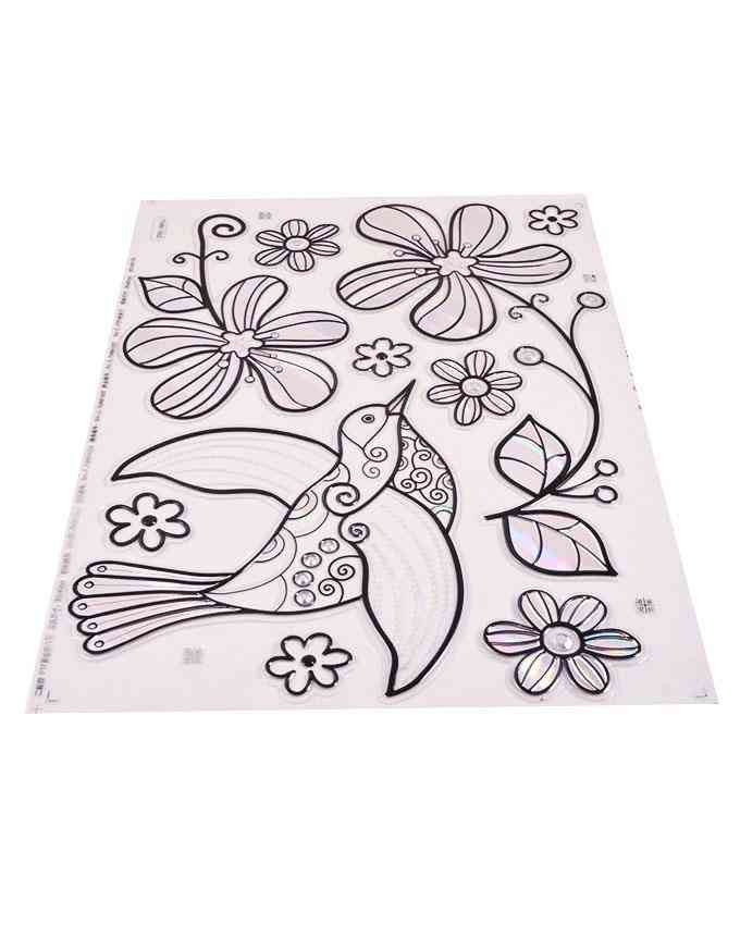 Shiny Birds and Flower Design Wall Sticker for Wall Decoration (16.5x9.5 Inch) - Blue