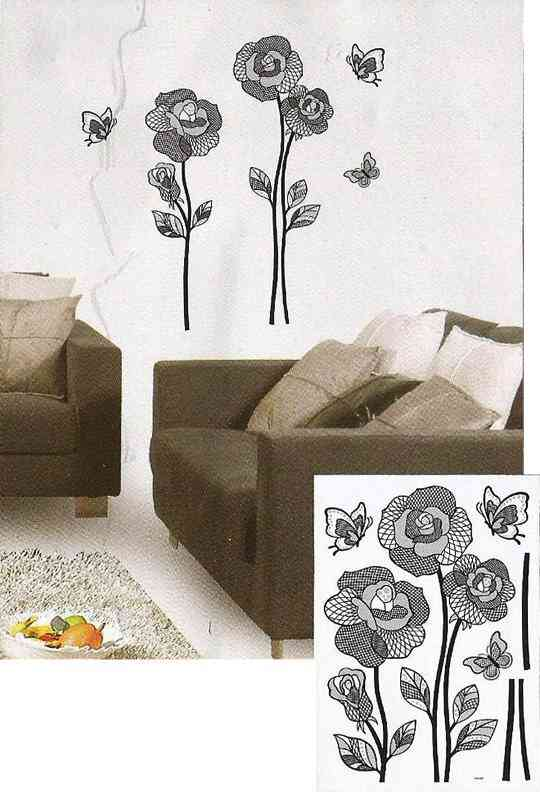 Shiny Flowers and Butterfly Design Wall Sticker for Wall Decoration (16.5x9.5 Inch) - Blue