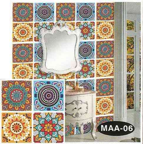 4 Tiles Design Wall Stickers for Wall Decoration (can be used as a wallpaper also) - 12.5x12.5 Inches - Green